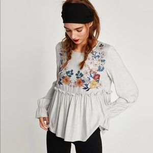 Zara printed top with ruffled waist line
